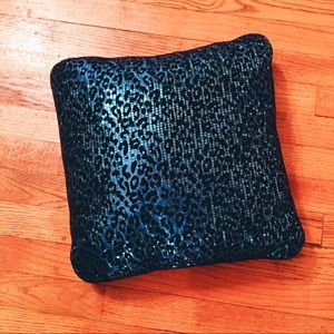 CUTE Teal Blue LEOPARD Print SEQUIN throw pillow